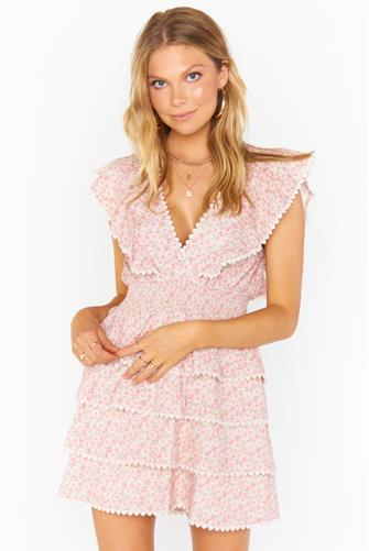 Sweet Ruffle Mini Dress PINK MULTI -