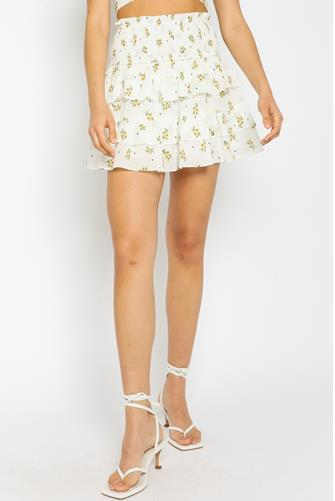 Floral Tiered Mini Skirt WHITE MULTI -