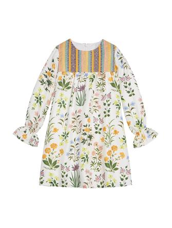 Embroidered Silk-Twill Dress