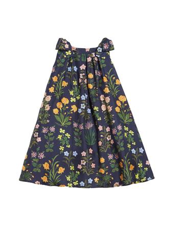 Flowers and Stems Silk-Twill Dress