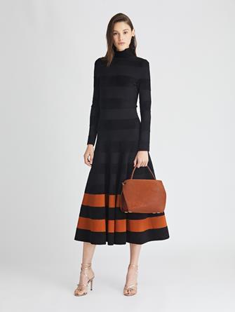 Striped Knit Turtleneck Dress