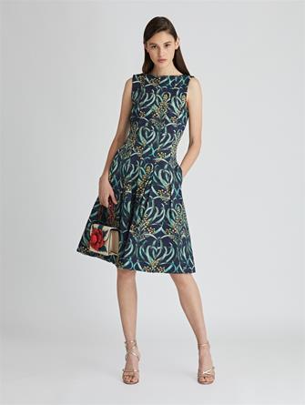 Mimosa Stems Cloqué Dress