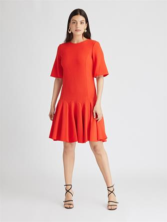 Stretch-Wool Crepe Trumpet Dress