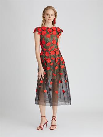 Carnation Embroidered Tulle Cocktail Dress