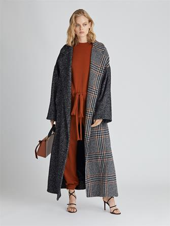 Herringbone Tweed and Houndstooth Bouclé Coat