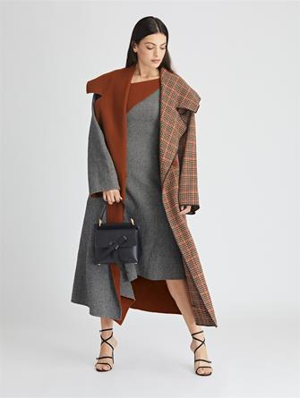 Herringbone Cashmere and Glenplaid Wool Coat