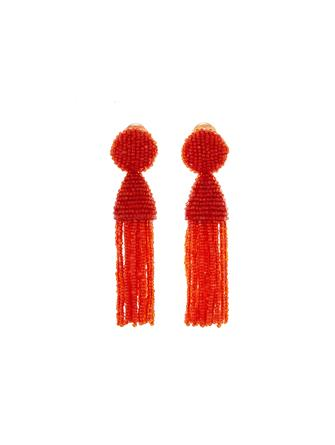 Persimmon Short Beaded Tassel Earrings