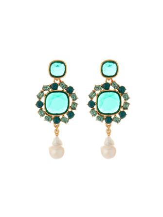 Jewel and Baroque Pearl Earrings