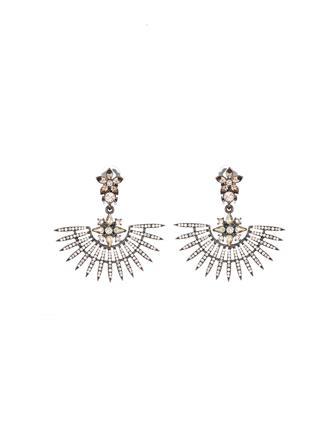 Pavé Point Fan Earrings