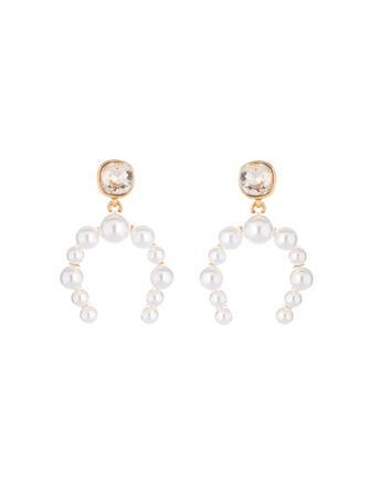 Crystal and Pearl Half Hoop Earrings