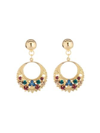 Embroidered Crescent Earrings