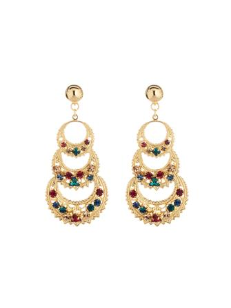 Embroidered Triple Crescent Earrings