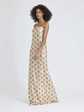 Fan-Embellished Silk-Chiffon Gown