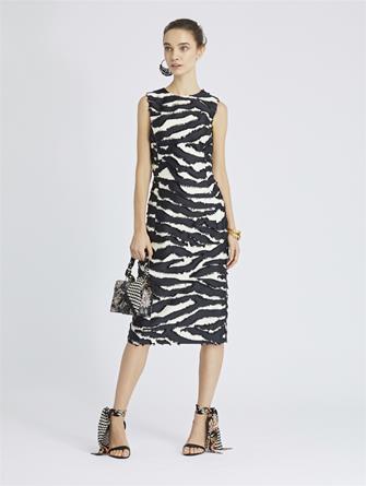 Zebra Fil Coupé Pencil Dress
