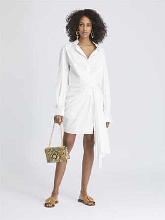 Stretch-Cotton Poplin Wrap Shirtdress