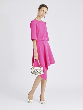 Asymmetric Stretch-Wool Crepe Dress