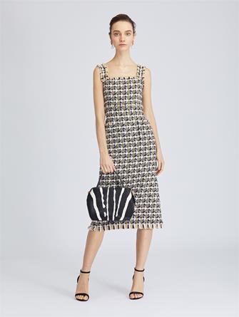 Houndstooth Tweed Pencil Dress
