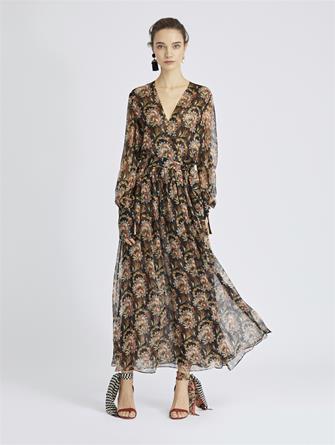 Tapestry Floral Silk-Chiffon Wrap Dress