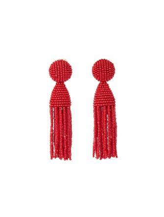 Cranberry Short Beaded Tassel Earrings