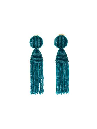 Spruce Short Beaded Tassel Earrings