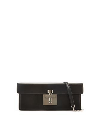 Black Leather Alibi Clutch