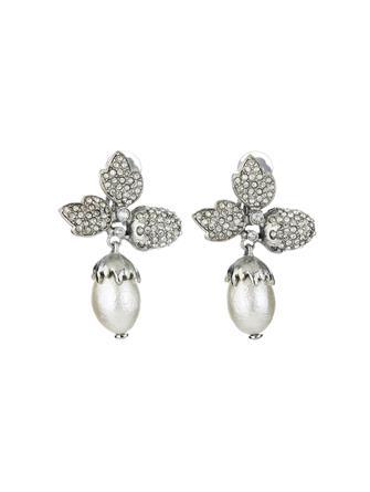 Pavé Leaf Acorn Earrings