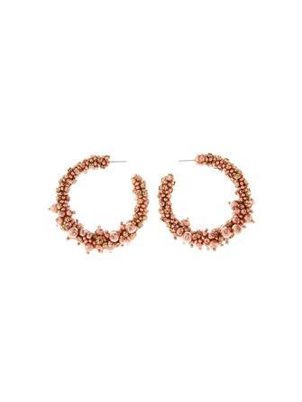 Beaded and Pearl Hoop Earrings