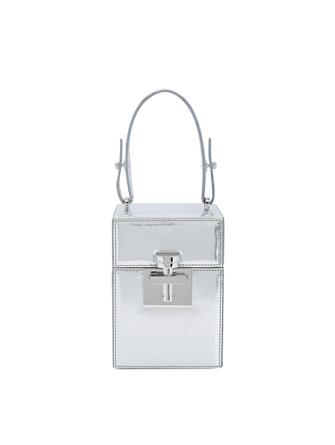 Silver Saffiano Mini Alibi Bag