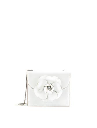 WHITE LEATHER MINI TRO BAG
