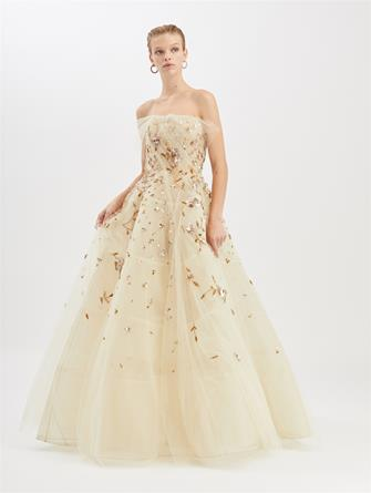 Embroidered Tulle Gown