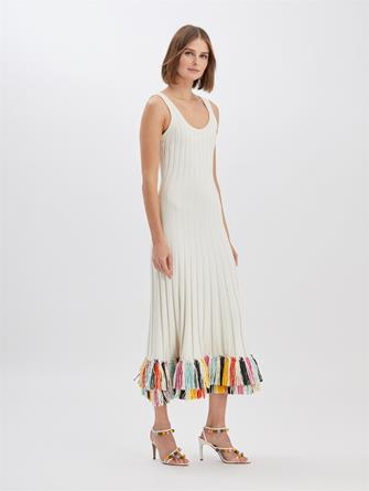 Raffia-Embroidered Knit Dress