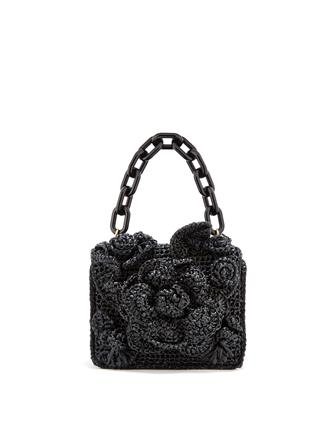 Black Raffia Mini TRO Bag