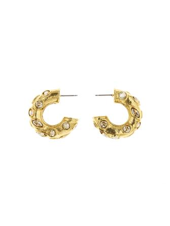 Gold Crystal Hoop Earrings