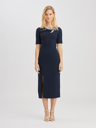 Crystal Embroidered Wool Dress