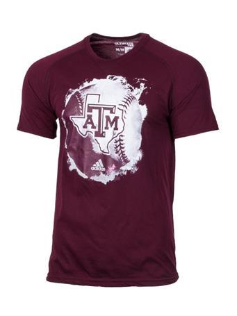 Adidas Texas A&M Fireball Baseball T-Shirt