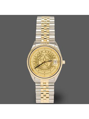 Belair Texas A&M Ladies Two Tone Watch
