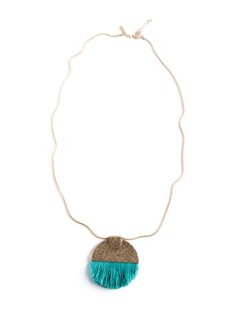 Semi Circle Pendant Tassel Necklace