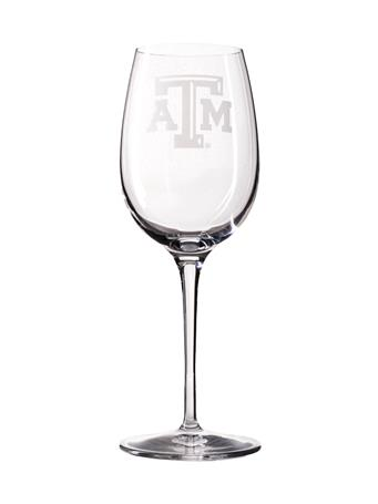 Texas A&M Campus Crystal 12oz White Wine Glass