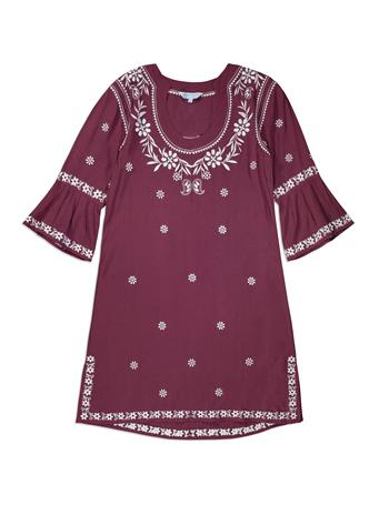 Maroon Escapada Embroidered Jillian Dress