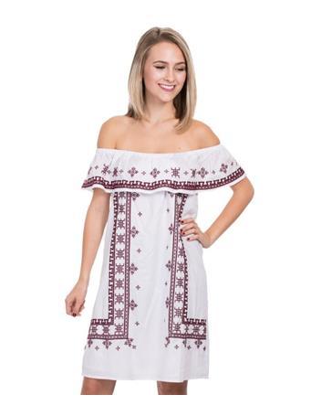 Joy Joy EMB Off Shoulder Peasant Dress
