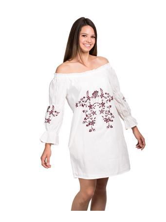 Joy Joy Off The Shoulder Embroidered Dress