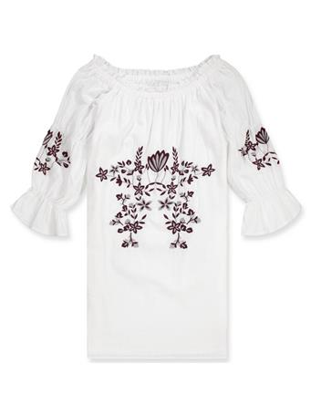 Joy Joy Off The Shoulder Maroon Embroidered Dress