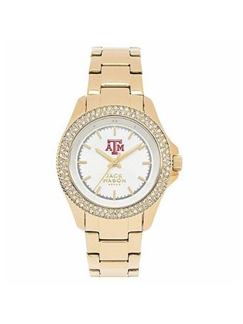 Texas A&M Jack Mason Ladies Gold Glitz Watch