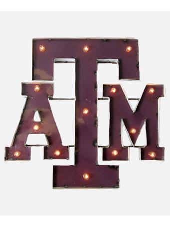Texas A&M Metal Block ATM Sign With Lights