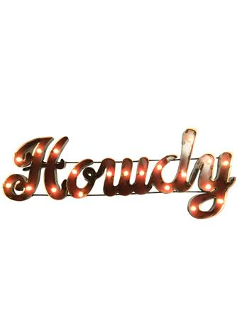 Howdy Metal Sign with Lights