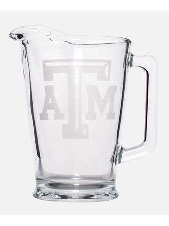 Texas A&M Bevelled Etched Glass Pitcher