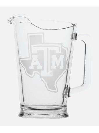 Texas A&M Lone Star Etched Glass Pitcher