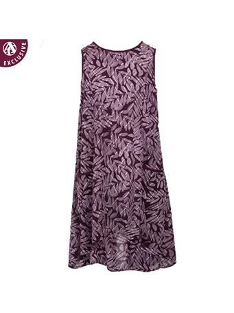 Maroon Sleeveless Printed Pocket Dress