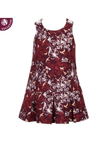 Maroon Toddler Pleated Dress with Button Snaps