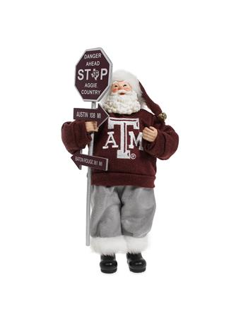 Texas A&M Santa Road Sign Figurine